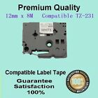 1 Laminated Brother label tape for TZ-231 P-Touch Black Text On White 12mm