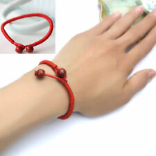 Women Braided Red Lucky Beads String Rope Ceramic Charms Wristband Bracelet NEW