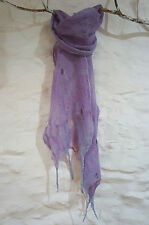 Hand Made Merino Wool Cobweb Felt Scarf In Lilac With Pale Grey Embellished Edge
