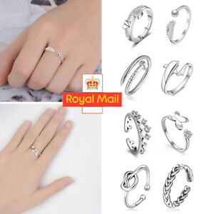 Womens 925 Sterling Silver Rings Adjustable Thumb Wedding Engagement Gift D