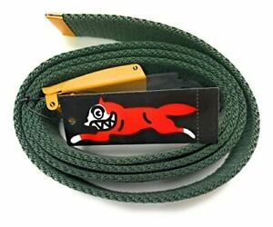Icecream Men Clothing Accessories Green Canvas Web Belt with Yellow Buckle Engra