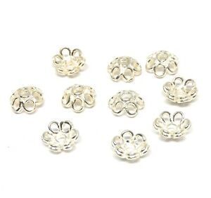 sterling silver bead caps 925 5mm bright flower