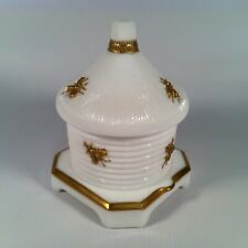 Vintage Imperial Glass Co. Milk Glass & Gold Beehive Honey Pot