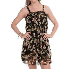 NWT Rancho Estancia Layla Dress Size Large Black Floral Sleeveless Halter or Bow