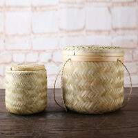 Bamboo Storage Basket Hand Woven Tea Canister Coffee Beans Storage Box