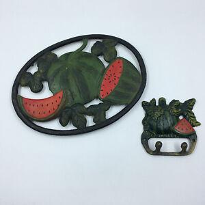Cast Iron Watermelon Trivet Pot Holder wall hook set of 2 vintage 1990s