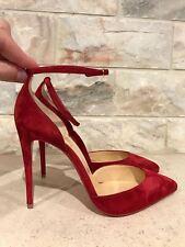 NIB Christian Louboutin Uptown 100 Red Carmin Suede Ankle Heel Pump 36.5 $845