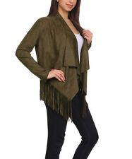 Cowgirl OLIVE Womens Native American Vintage Inspired Fringe Suede Jacket XL