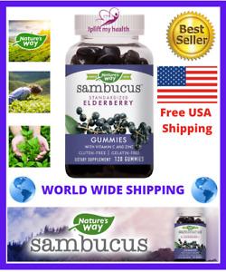 New Nature's Way Sambucus Elderberry w/ Vitamin C + Zinc 120 Gummies Gluten Free