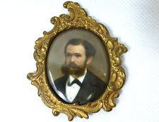 Miniature Portrait gemalt auf Porzellanplatte Bronze Thüringen um 1850