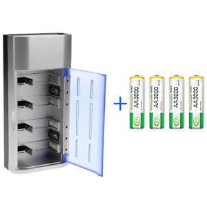Universal Batterie Ladegerät für AA AAA 9V C D + 4x AA Wiederaufladbare Akku