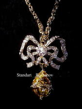 Russian Imperial Empress Alexandra Lovers Bow with Egg Pendant Necklace