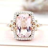 3.68 CT Gorgeous Morganite Engagement Fine Ring 14 KT Rose Gold Ring