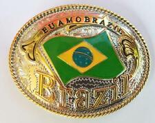 Rodeo Big Cowboy Western Shine Belt Buckle Huge Oval Brazil Eu Amo Brazil Flag