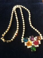 Vintage 1950s Deco Multi Colour Diamante Rhinestone Necklace VGC