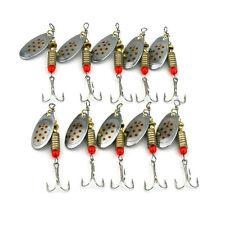 10 Pcs Metal Fishing Baits Metal Spinner Lures Hook Fishing Gears Tool 6.3cm gt