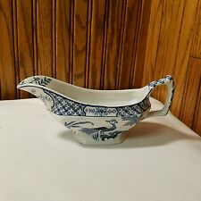 Yuan Wood & Sons England Gravy Boat Peacocks Blue White Cottage Shabby Chic