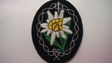 German Army WWII Cloth Edelweiss Patch for Uniform Sleeve
