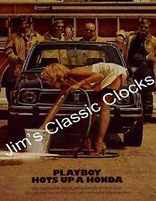 Playboy Hots Up A Honda Civic Print Advertisement Poster-Accord, Nissan, Datsun