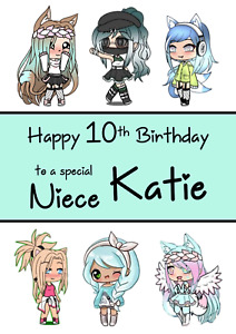 Gacha Life personalised A5 birthday card - ANY - AGE RELATION NAME