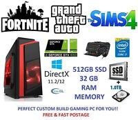 Fast Gaming PC Computer Bundle Quad Core i7 32GB 512GB SSD 1TB GTX 1050