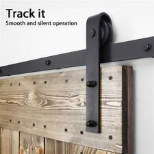 8 Ft Heavy Duty Sliding Barn Door Hardware Kit Set Top Mount Garage Black Steel