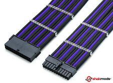 Shakmods 24pin ATX Mobo 30cm Black & Purple Sleeved Extension + 2 Cable Combs