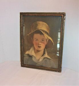 "Vintage print Thomas Sally's 1820 ""Boy with the Torn Straw Hat"" portrait. Framed"