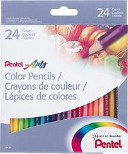 Pentel Arts Color Pencils 24 colors Pack Box set
