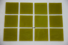 """0221.30- 12 PIECES 1/2"""" x 1/2"""" OPAQUE CITRONELLE BULLSEYE 3mm THICK GLASS 90 COE"""