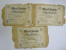 3x RARE 1919 CITY OF BOSTON * BOSTON SCHOOL CADETS SPORT ACHIEVEMENT CERTIFICATE