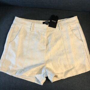Very J Womens Medium Shorts Cream Metallic Silver Pockets Flat Front Lined NEW