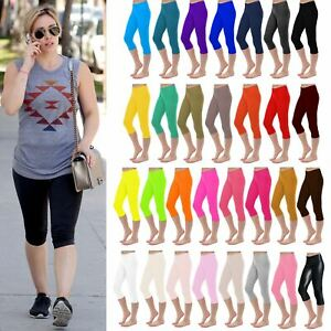 New Womens Plain Stretchy 3/4 Leggings Workout Tight Cropped Capri Active Pants