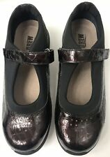 DREW ROSE WOMEN'S BROWN PATENT LEATHER MOCK CROC MARY JANES   SZ.11WW NWOB