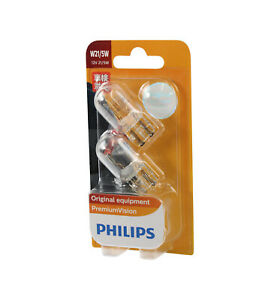 PHILIPS Premium Vision Clear Stop Tail Light Globe Wedge W21/5W 12V - 2 Pack