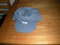 Vintage Mens KEY IMPERIAL HAT Railroad Work Wear Stripes Overalls Cap Worker