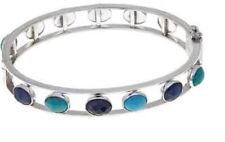 Jay King Sapphire & Turquoise Hinged Magnet Clasp Bangle Bracelet NEW