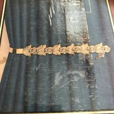Vintage Brass Rose Floral Curtain Tie Backs New Old Stock JcPenney