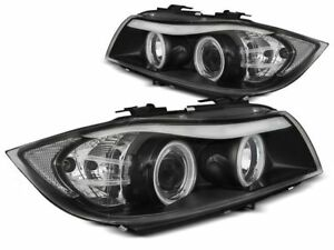 BMW 323i 325i 328i 330i E90 E91 2005 2006 2007 2008 LPBMH7 HEADLIGHTS CCFL BLACK