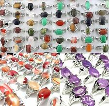 Job lots 100pcs Mixed Style Natural Stone Silver Plated Women's Charm Rings