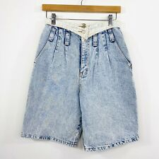 Vintage 80s Oke Womens Mum Denim Shorts Light Acid Wash High Waist Size 8