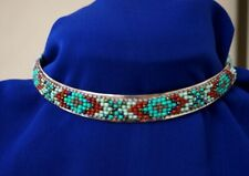 Traditional Indian Style Metal Choker Necklace Beaded Red, Turquoise AC25A-1/22