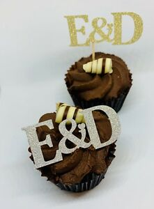 12 PERSONALISED GLITTER FOIL INITIAL CUPCAKE TOPPERS PICKS WEDDING ENGAGEMENT