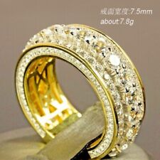 Fashion 18K Yellow Gold Filled White Sapphire Ring Women Men's Wedding Jewelry