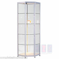 Professional High Class Aluminum&Glass Corner Tower Display Cabinet Retail Shop