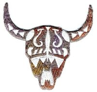 Southwestern Tribal Cow/Steer Head/Skull - Iron on Applique/Embroidered Patch