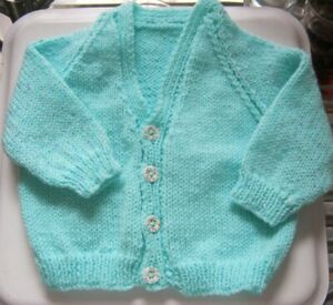"""Hand Knitted Baby Cardi -  MINT GREEN, 18"""" chest, V Neck  **NEW**"""