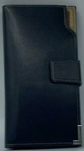 Womens Large Leather Purse RFID Secure Clutch Wallet Card Holder Black