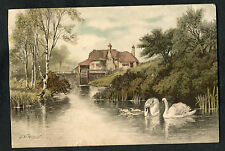 Posted 1904 Art Card: Water Mill & Swans