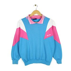 Umbro 80s Womens Rare Blue Pink Collared Oversized Spell Out Sweatshirt - UK 8